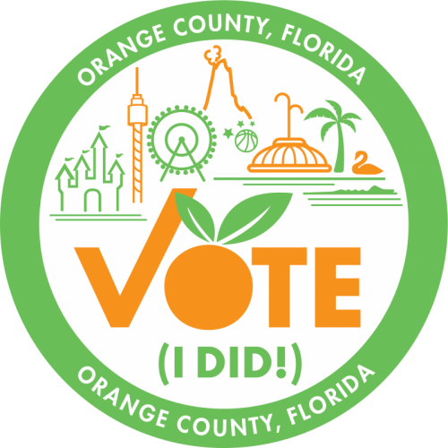 "Vote sticker with Orange County landmarks and ""Orange County, Florida"" around the green edge."