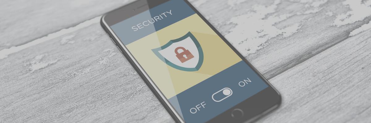 Icono de seguridad en el teléfono inteligente.